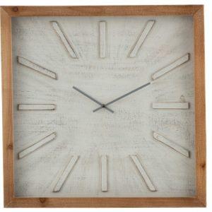 horloge carré bois et blanc jolipa jline