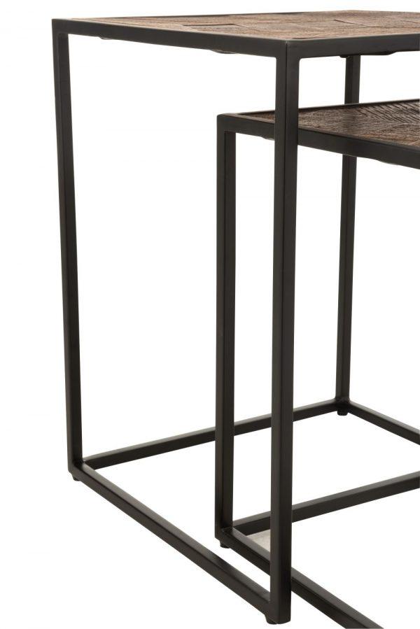 SET TABLE GIGOGNE METAL ET BOIS DE MANGUIER NOIR ET MARRON - JOLIPA