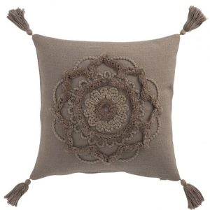 COUSSIN FLEUR + FLOCHES TAUPE