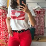 tee shirt couer rayure rouge