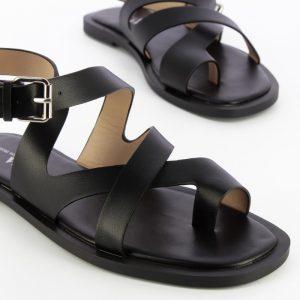 sandales-plates-noires-a-passe-pouce - vanessa wu