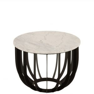 TABLE RONDE MARBRE METAL BLANC JOLIPA