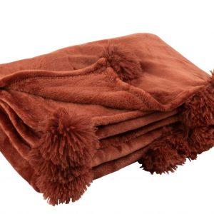 Plaid Pompon Polyester Marsala