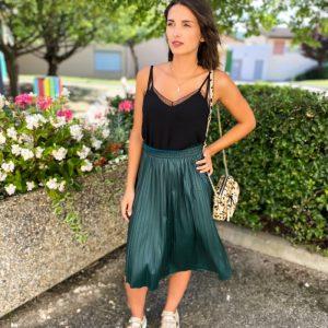 Jupe Nellie verte plissée longue - vero moda - 10253298